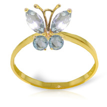 Brand New 0.6 Carat 14K Solid Gold Butterfly Ring Natural Aquamarine - £137.41 GBP