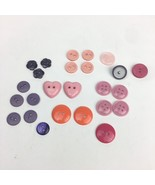 Mixed Lot of 25 Pink Orange Purple Buttons 2 and 4 Hole Shank Back Vinta... - $9.49