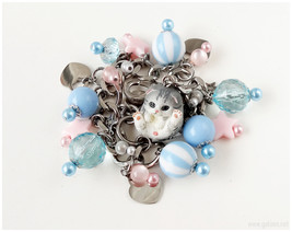 Cat Charm Bracelet, Fairy Kei, Pastel Pink, Pastel Blue, Cat Jewelry, Ka... - $44.00