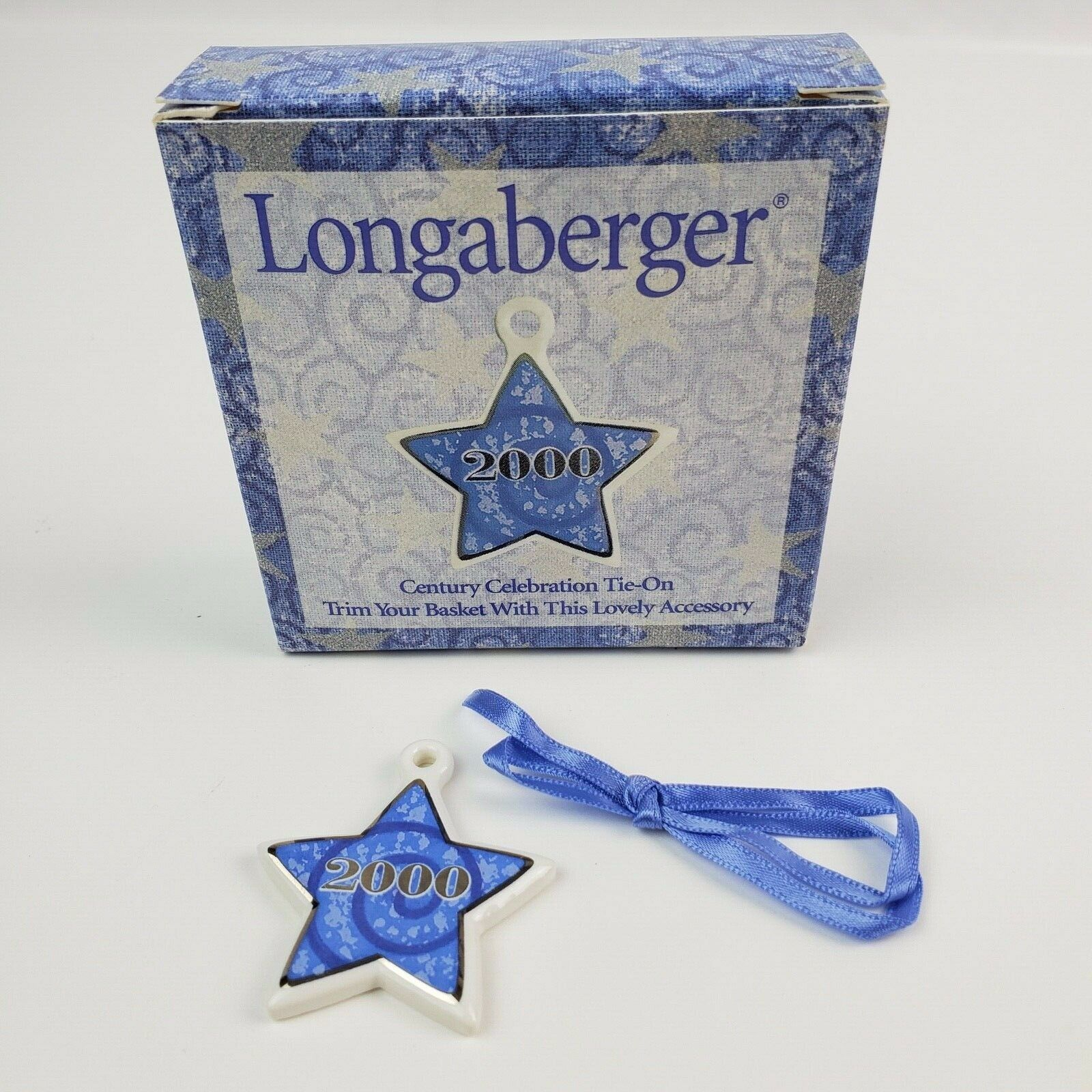 Primary image for New in box Longaberger Basket Tie-On Year 2000 Porcelain Star Blue & white