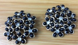 "Vintage Funky Black Lucite and Rhinestone clip on Earrings  1.75""  (230) - $13.85"