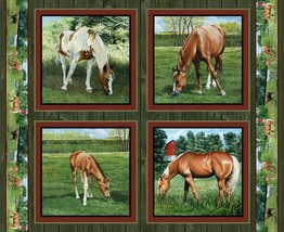 "Wild Wings Valley Crest Horse Pillow Panel 100% cotton fabric panel 36"" ... - $7.51"