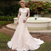Elegant Long Sleeves Lace Bride Dresses Scoop Neck Lace-up back Tulle Mermaid We image 7