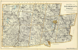 """1893 Map 16""""x24"""" North part of Litchfield Co., Connecticut Wall Poster History - $16.34"""