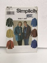 Simplicity 9934 Misses Loose Fitting Shirt Jacket Sewing Pattern - $9.89