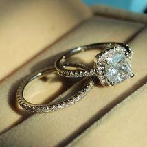 Cushion Cut CZ Women's Bridal Wedding Ring Set 14k White Gold Plated 925 Silver - $90.36