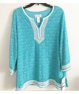 Womens Alfred Dunner XL Shirt Top New NWT Aqua Turks & Caicos Lined  R5 - $21.77