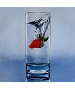 Strawberry in water 12x12 in. stretched Oil Painting Canvas Art Wall Dec... - $100.00