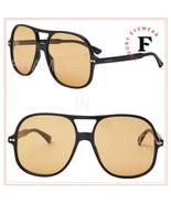 GUCCI 0706 Black Yellow Oversized Unisex Retro Sunglasses GG0706S 002 Au... - $289.08