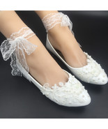 Women Ribbon Style Bridal Ballet Flats/Wedding Flat Shoes with Lace Ankel Straps - $38.00