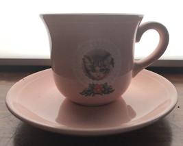 VINTAGE HALLMARK JAPAN KITTEN CAT PINK MINI CUP AND SAUCER DEMITASSE - $14.03
