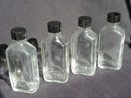 4 Vintage Moderne Oval Apothecary or Medicine Glass Bottles w/Plastic Li... - $14.99