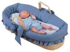Baby Doll Bedding Denim Moses Basket, Blue - $95.67