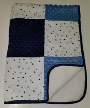 Just Born Patchwork Fleece Baby Blanket Lovey Blue White Stars Minky Dot... - $34.60
