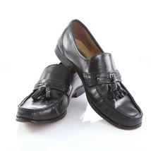 Bostonian Stockbridge Black Leather Tassel Loafers Shoes Apron Toe Mens 12 N - $24.67