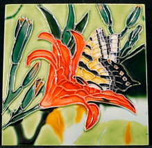 Benaya Hand Crafted Art Ceramic Tile Wall Plaque / Trivet Flower and But... - $19.99