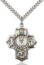 Men's Bliss Large Sterling Silver 5-way / Air Force Cross Pendant Necklace  - $63.50