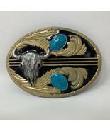 VTG Siskiyou Cow Bull Skull Turquoise Faux Gold Belt Buckle Native Western  - $64.34