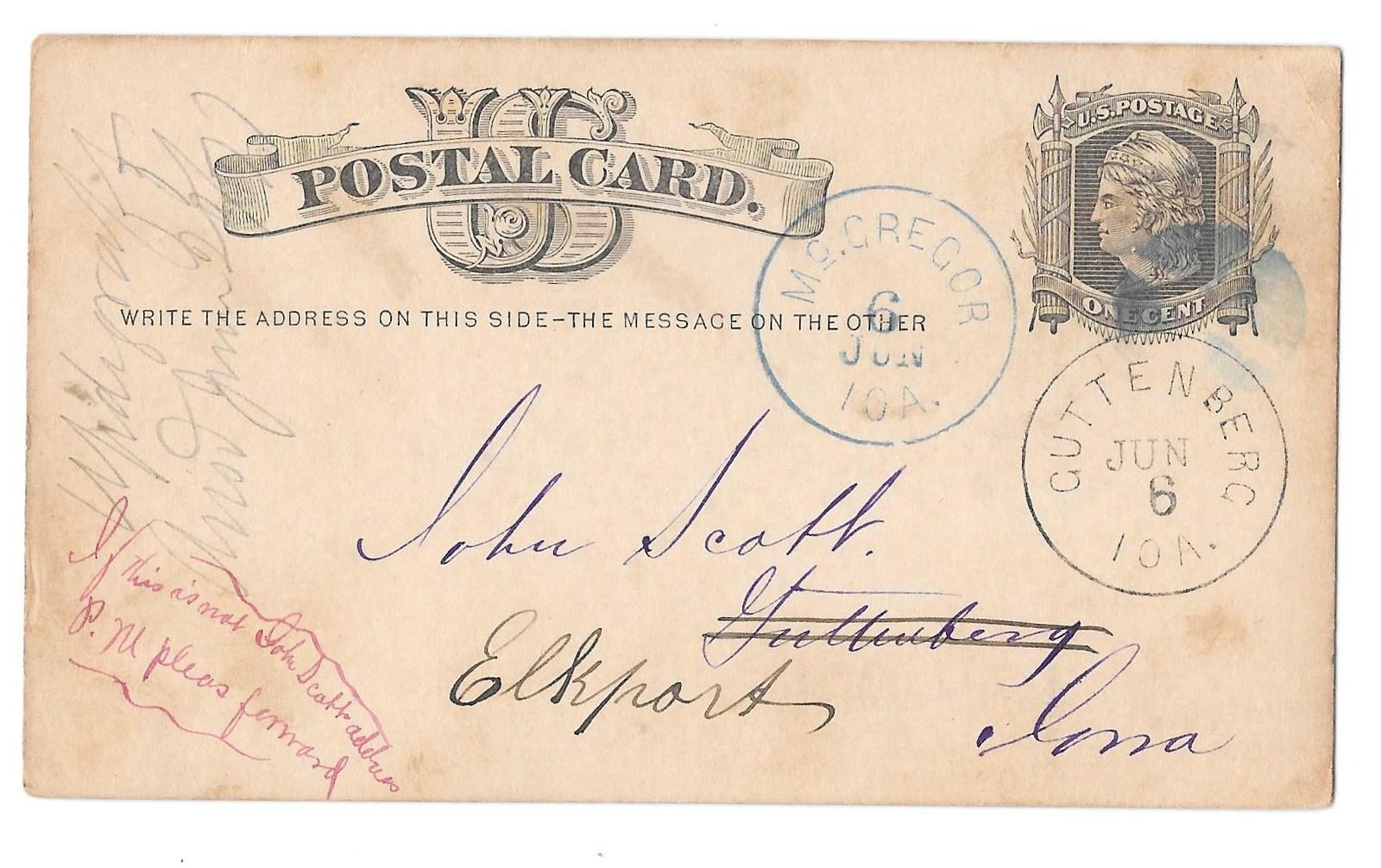 1877 McGregor Forward to Guttenburg Iowa Dual Cancels on Scott UX5 Postal Card
