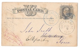 1877 McGregor Forward to Guttenburg Iowa Dual Cancels on Scott UX5 Postal Card image 1