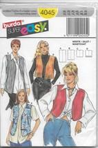 Burda 4045 Women Vest Four (4) Styles Choice, Very Easy, Sizes 10 12 14 ... - $15.00