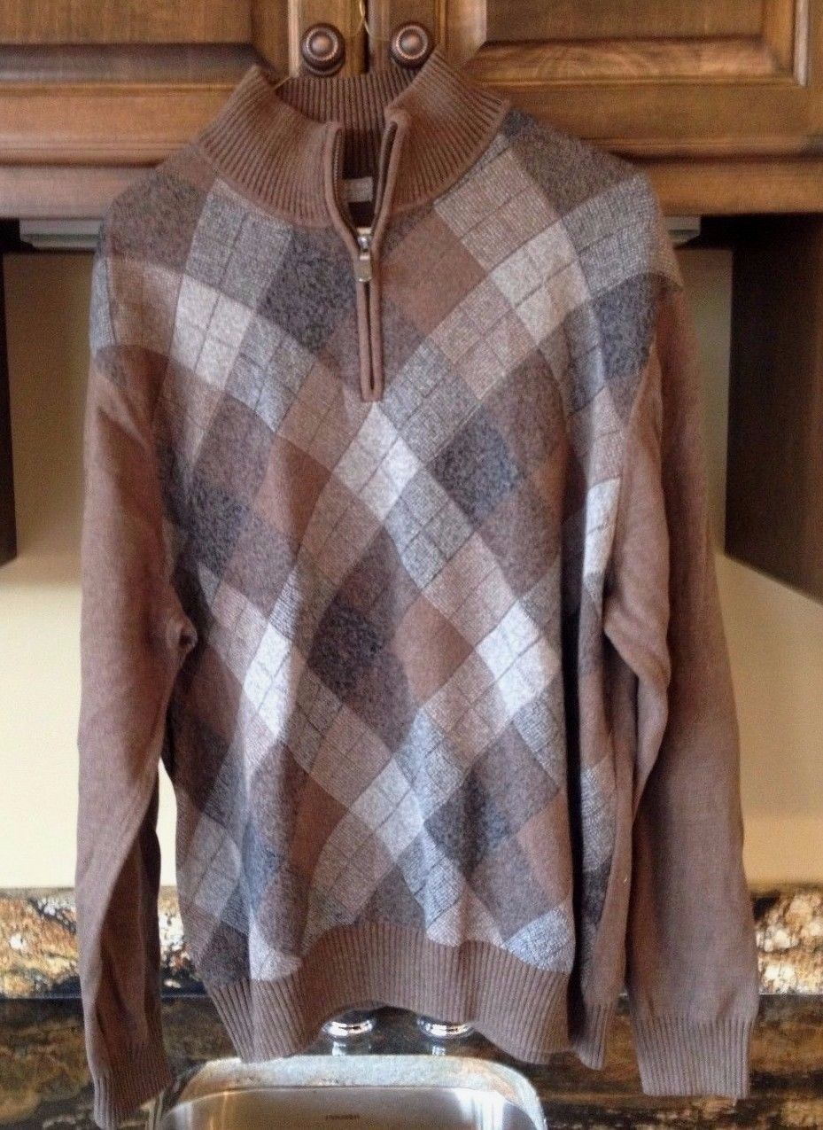 5857b1295fc Argyle Sweater Mens L Quarter Vintage Joseph and 50 similar items