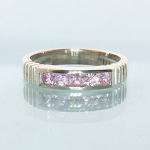 Five Pink Sapphires Handmade Sterling Silver Unisex Channel Set Ring size 6.75 - £70.31 GBP