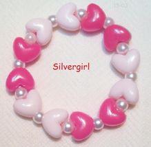 Childs Kids Hearts Delight Beaded Stretch Bracelets Red Pink - $6.99
