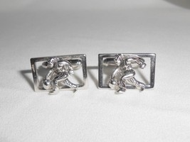 Bowling Bowler Cufflinks Vintage Shields Figural Silvertone Metal - $14.25