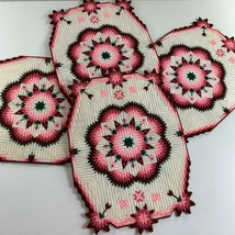 Plastic Canvas Handstitched Pink White Geometric Quilt Pattern Placemat ... - $18.81