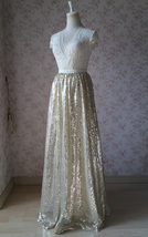 Gold Sequin Maxi Skirt Women Plus Size Sequin Maxi Skirt Sparkly Skirt image 2