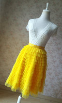 Yellow A-Line Knee Length Tiered Tulle Skirt High Waist Yellow Skirt Outfit T185 image 5