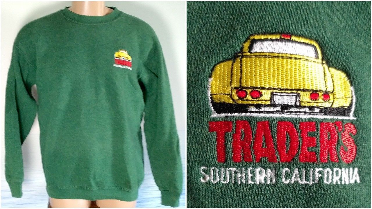 Vintage LEE Made in USA TRADERS L Southern California Cars Sweatshirt Mens Green