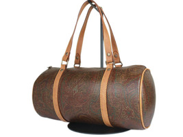 ETRO Paisley Canvas Leather Browns Hand Bag EH18086L - $159.00