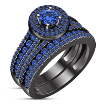 14k Black Gold Plated 925 Silver Round Cut Blue Sapphire Bridal Wedding ... - $111.88