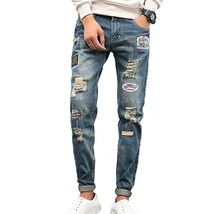 WB Men's Small Foot pants Ripped Jeans Casual Slim Embroidery Jeans - $39.78