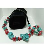 "Santa Domingo Lory Melton Raw CHUNKY Spider TURQUOISE & Red Coral 17"" Ne... - $129.99"