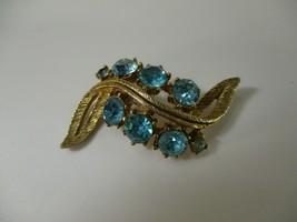 "Vtg Aqua Blue Rhinestone Gold Tone Brooch Pin 2 3/8"" Long - $10.78"