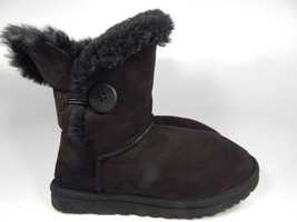 UGG Australia Bailey Button Black Sheepskin Boots Size 9 M (B) EU 40  Model 5803