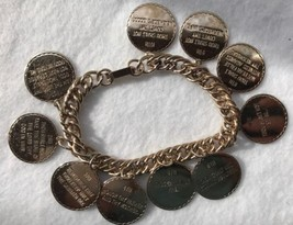 "Ten Commandments Charm Bracelet Gold Tone 7.5"" - $12.19"
