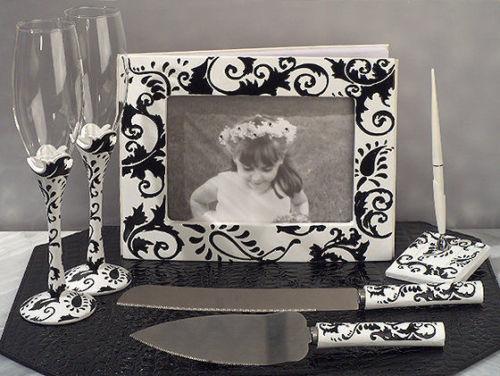 Damask Guest Book Pen Toasting Glasses Cake Serving Set Wedding Accessories Set - $55.24