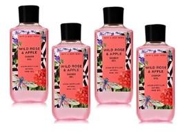 Bath & Body Works Wild Rose & Apple Shower Gel w Steam Distilled Rose Oil X4 - $30.99