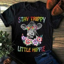 Funny Cow Hippie Stay Trippy Little Hippie Ladies T-Shirt Black Cotton S... - £14.51 GBP+