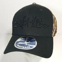Salt Life Men's Trucker Snapback Hat Cap Black Camouflage Embroidery  - $19.79