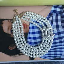 AUTH Chanel CC Necklace Pearl Multi Strand Gold Choker Necklace New Auth... - $1,299.99