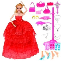 Princess Doll With 27 Pcs Accessories Set Dress 3D Eyes Joint Moving Bod... - $13.99