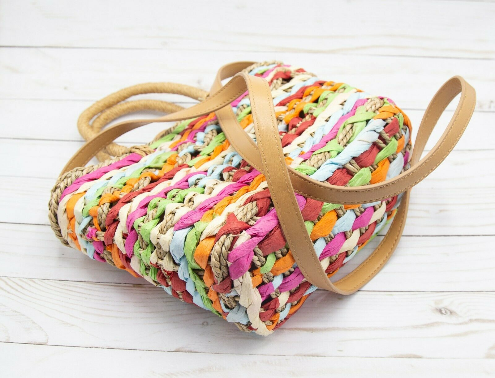 A New Day Straw Multi Colored Box Crossbody Bag Natural Purse