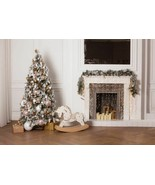 Christmas Tree Background Fireplace Wooden Photography Customized Wall S... - $12.02+