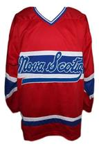 Custom Name # Nova Scotia Voyageurs Retro Hockey Jersey Carbonneau Red Any Size image 4
