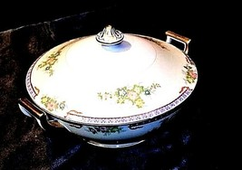 Tureen Serving Bowl with Lid AA18-1193G Vintage MeitoChina Hand Painted image 1